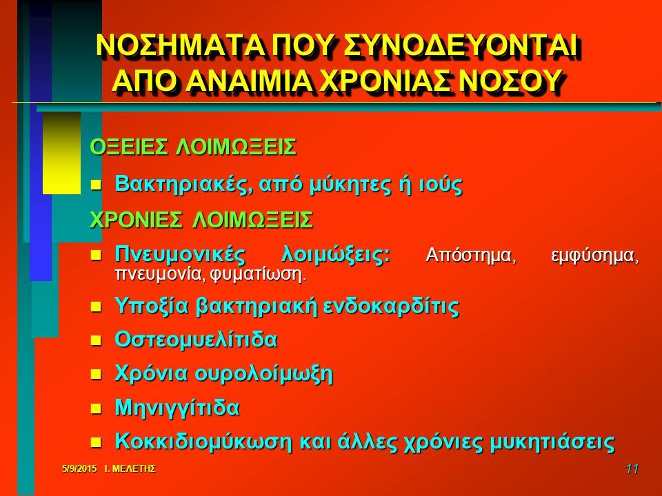ΝΟΣΗΜΑΤΑ ΠΟΥ ΣΥΝΟΔΕΥΟΝΤΑΙ ΑΠΟ ΑΝΑΙΜΙΑ ΧΡΟΝΙΑΣ ΝΟΣΟΥ