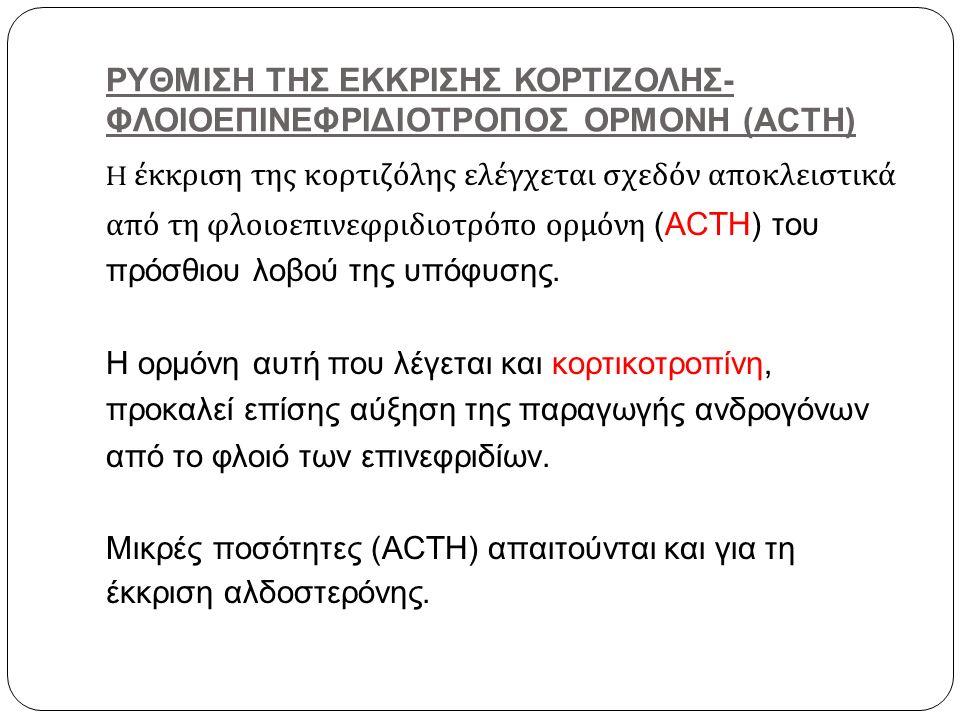 ΡΥΘΜΙΣΗ ΤΗΣ ΕΚΚΡΙΣΗΣ ΚΟΡΤΙΖΟΛΗΣ-ΦΛΟΙΟΕΠΙΝΕΦΡΙΔΙΟΤΡΟΠΟΣ ΟΡΜΟΝΗ (ACTH)