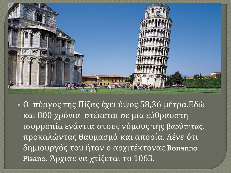 Ο πύργος της Πίζας έχει ύψος 58,36 μέτρα