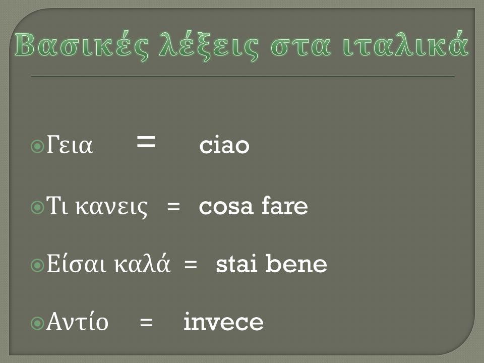 Βασικές λέξεις στα ιταλικά