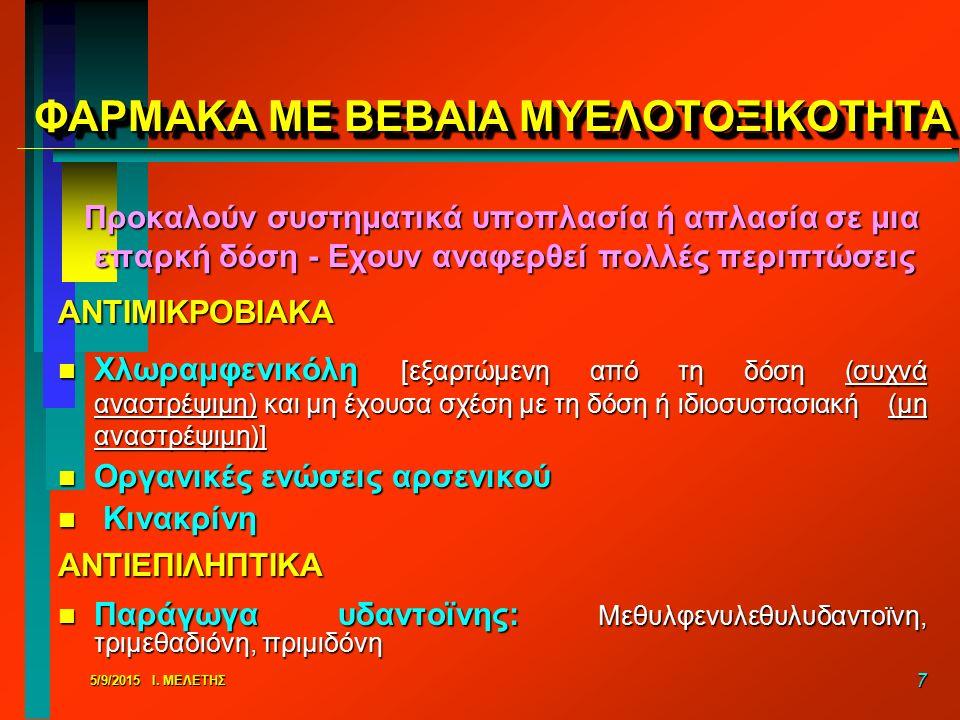 ΦΑΡΜΑΚΑ ΜΕ ΒΕΒΑΙΑ ΜΥΕΛΟΤΟΞΙΚΟΤΗΤΑ