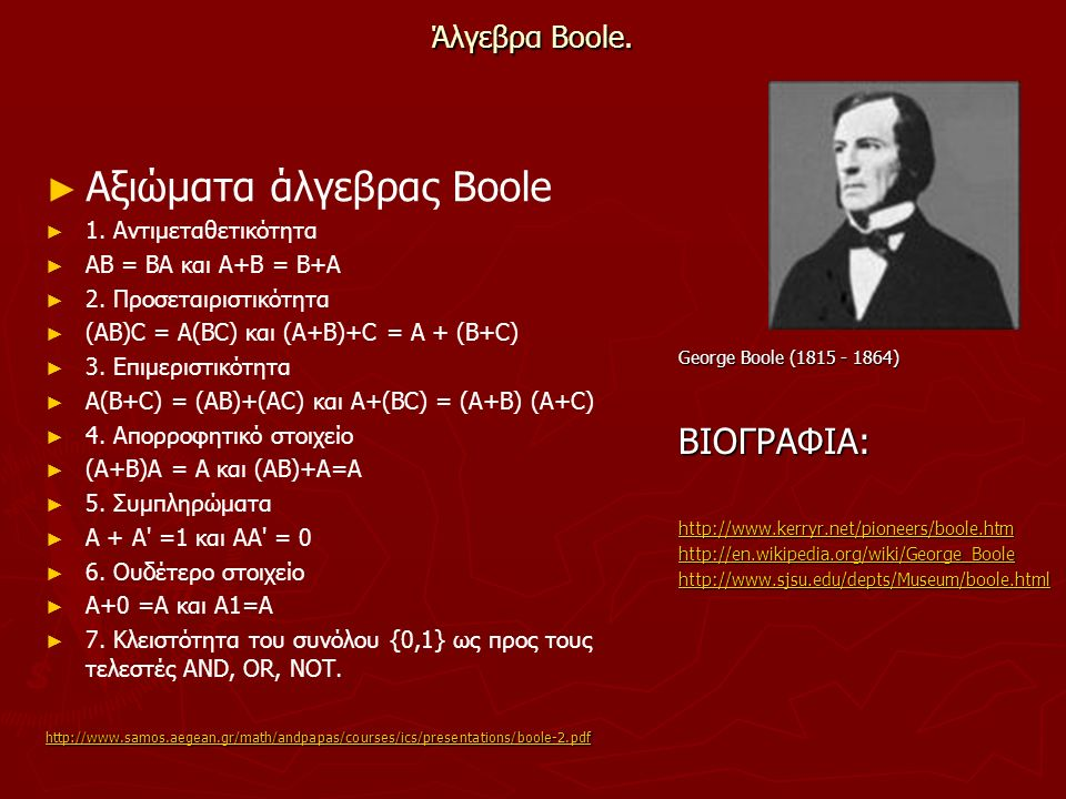 Αξιώματα άλγεβρας Boole