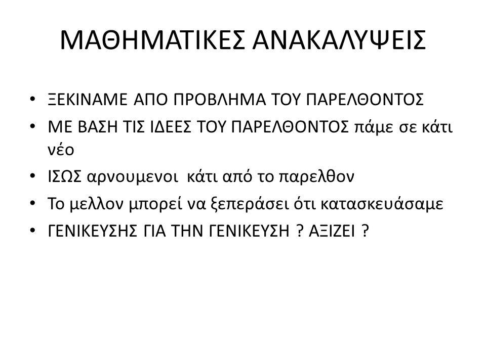 ΜΑΘΗΜΑΤΙΚΕΣ ΑΝΑΚΑΛΥΨΕΙΣ