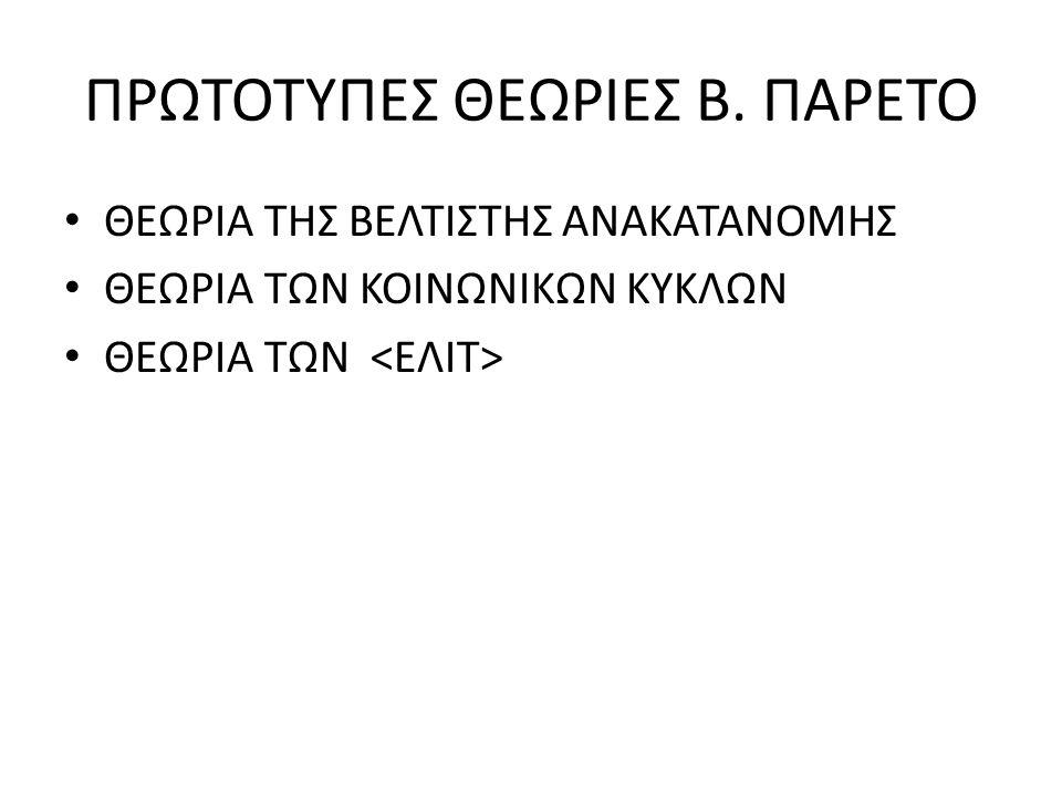 ΠΡΩΤΟΤΥΠΕΣ ΘΕΩΡΙΕΣ Β. ΠΑΡΕΤΟ