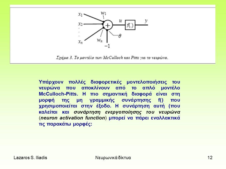 Υπάρχουν πολλές διαφορετικές μοντελοποιήσεις του νευρώνα που αποκλίνουν από το απλό μοντέλο McCulloch-Pitts. Η πιο σημαντική διαφορά είναι στη μορφή της μη γραμμικής συνάρτησης f() που χρησιμοποιείται στην έξοδο. Η συνάρτηση αυτή (που καλείται και συνάρτηση ενεργοποίησης του νευρώνα (neuron activation function) μπορεί να πάρει εναλλακτικά τις παρακάτω μορφές: