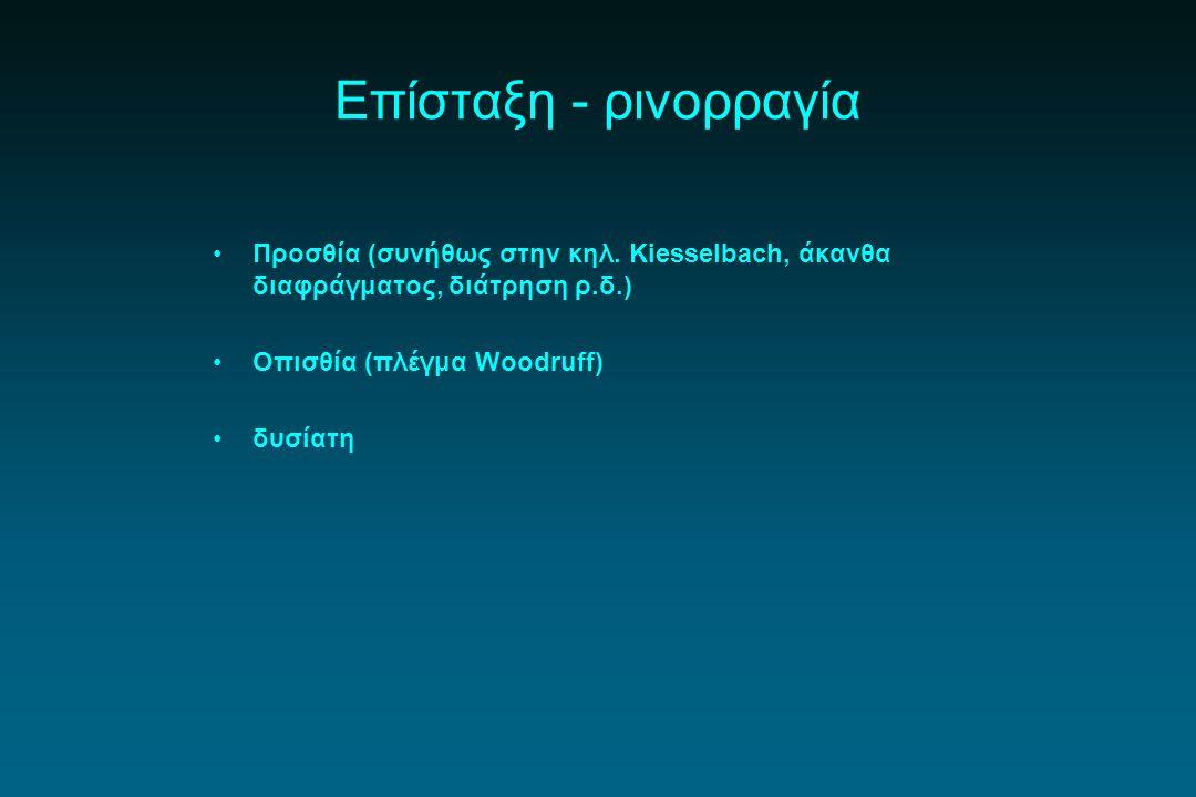 Επίσταξη - ρινορραγία Προσθία (συνήθως στην κηλ. Kiesselbach, άκανθα διαφράγματος, διάτρηση ρ.δ.) Οπισθία (πλέγμα Woodruff)