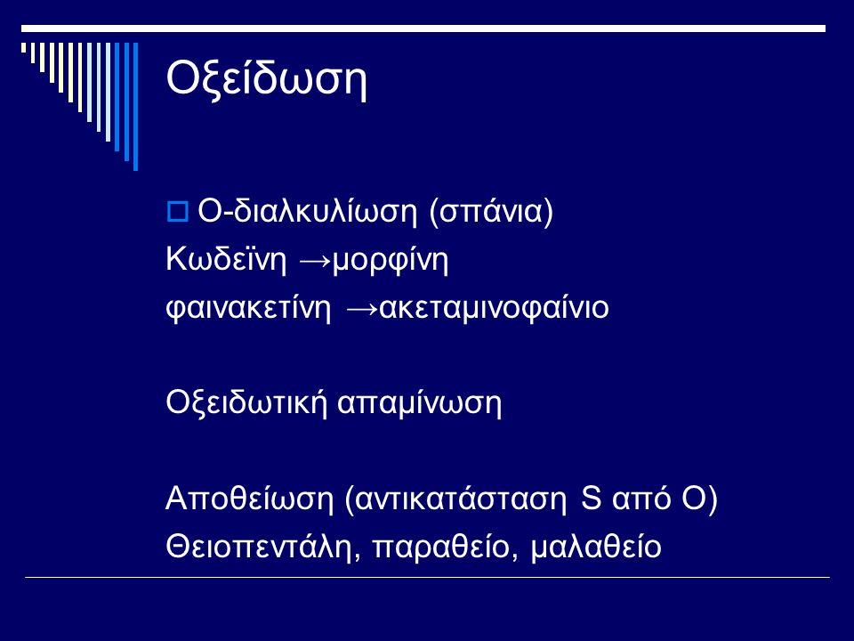 Οξείδωση Ο-διαλκυλίωση (σπάνια) Κωδεϊνη →μορφίνη