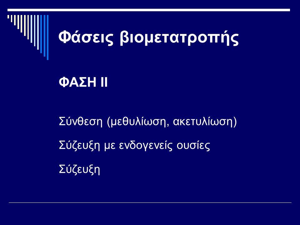 Φάσεις βιομετατροπής ΦΑΣΗ ΙΙ Σύνθεση (μεθυλίωση, ακετυλίωση)