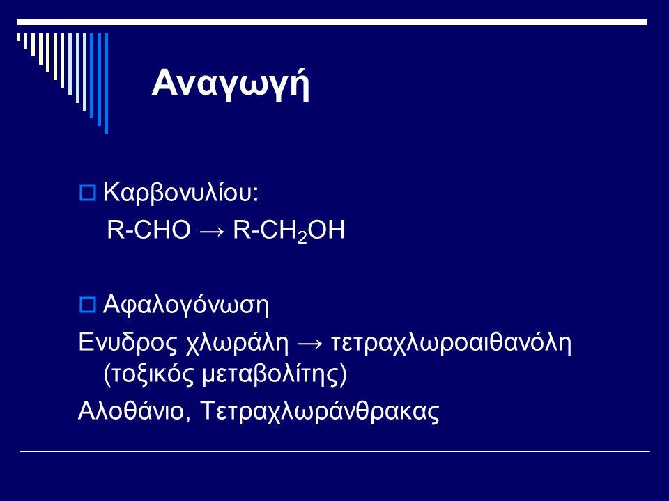 Αναγωγή Καρβονυλίου: R-CHO → R-CH2OH Αφαλογόνωση