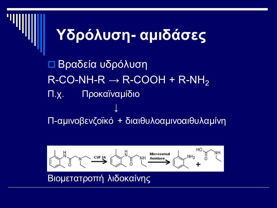 Υδρόλυση- αμιδάσες Βραδεία υδρόλυση R-CO-ΝΗ-R → R-COOH + R-ΝΗ2