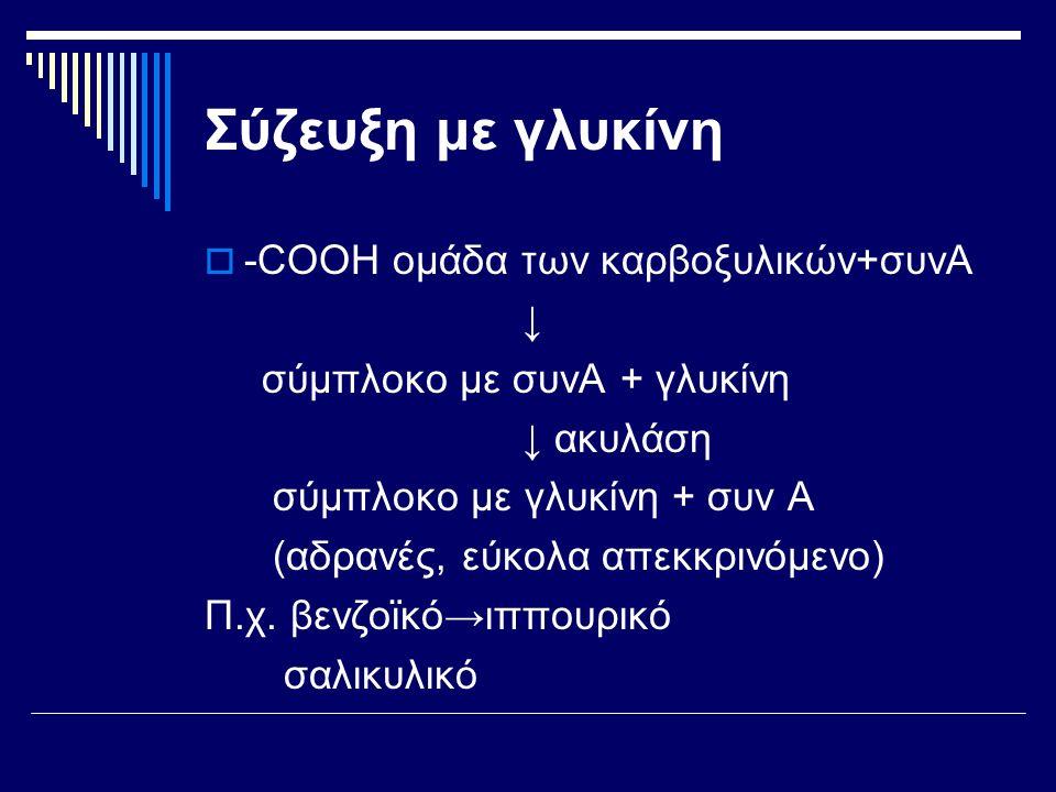 Σύζευξη με γλυκίνη -COOH ομάδα των καρβοξυλικών+συνΑ ↓