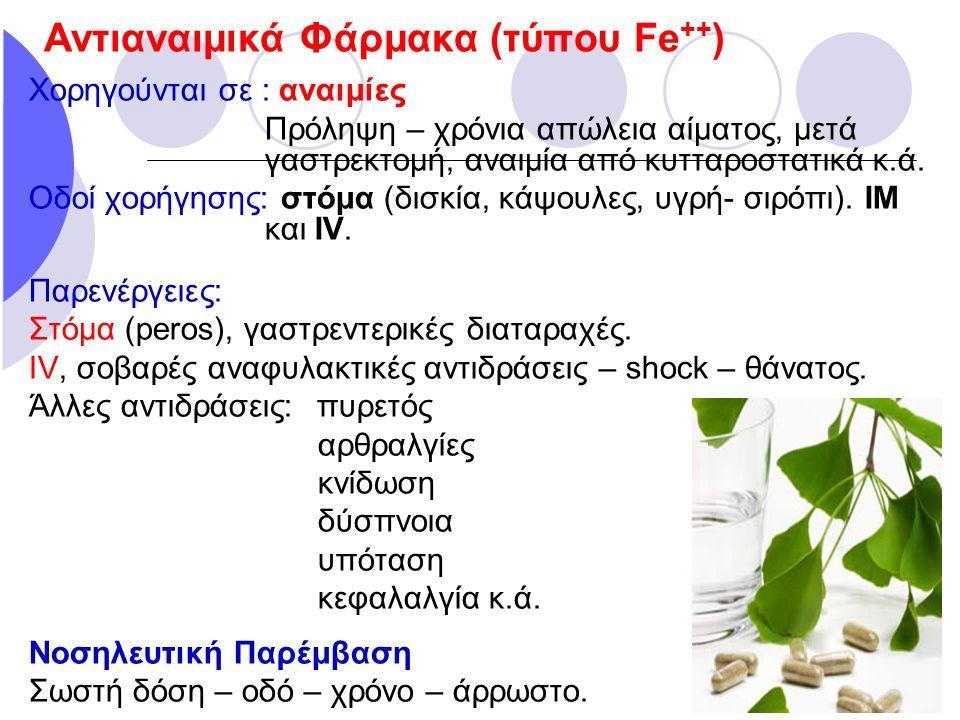 Αντιαναιμικά Φάρμακα (τύπου Fe++)