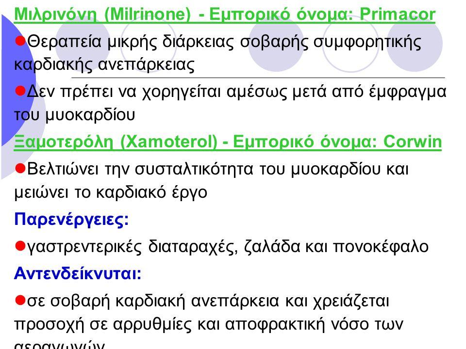 Μιλρινόνη (Milrinone) - Εμπορικό όνομα: Primacor