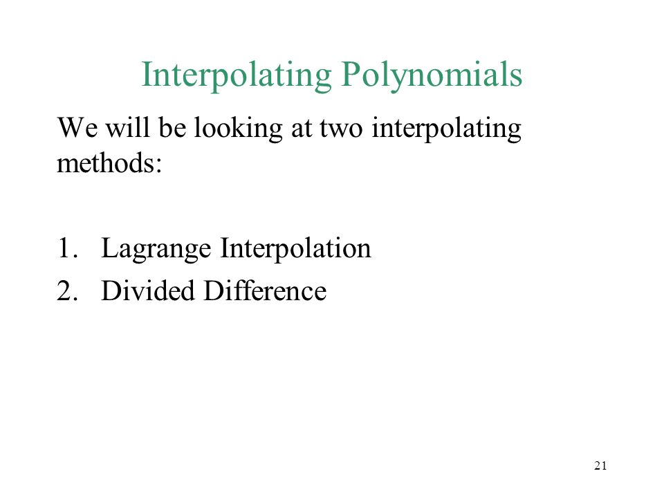 Interpolating Polynomials