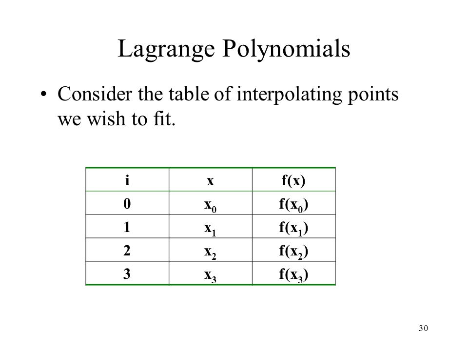 Lagrange Polynomials Consider the table of interpolating points we wish to fit. i. x. f(x) x0. f(x0)