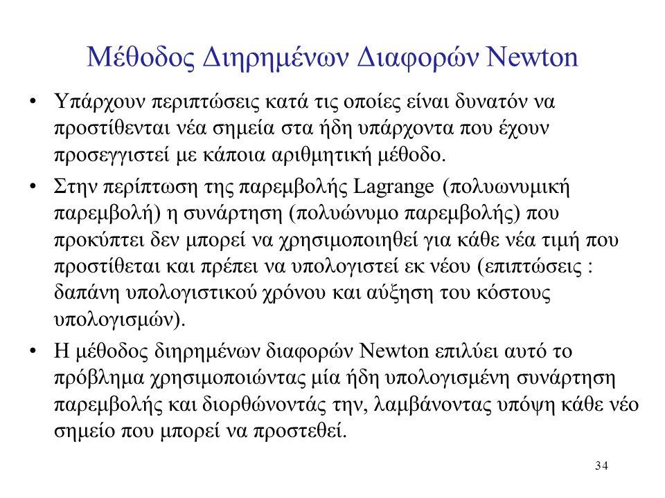 Μέθοδος Διηρημένων Διαφορών Newton