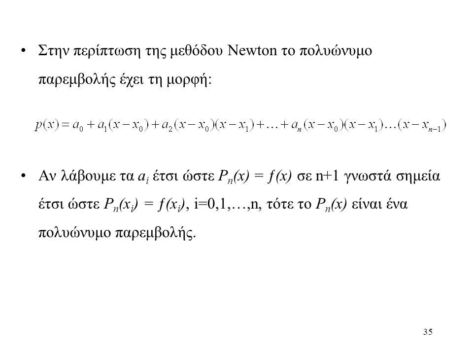Στην περίπτωση της μεθόδου Newton το πολυώνυμο παρεμβολής έχει τη μορφή: