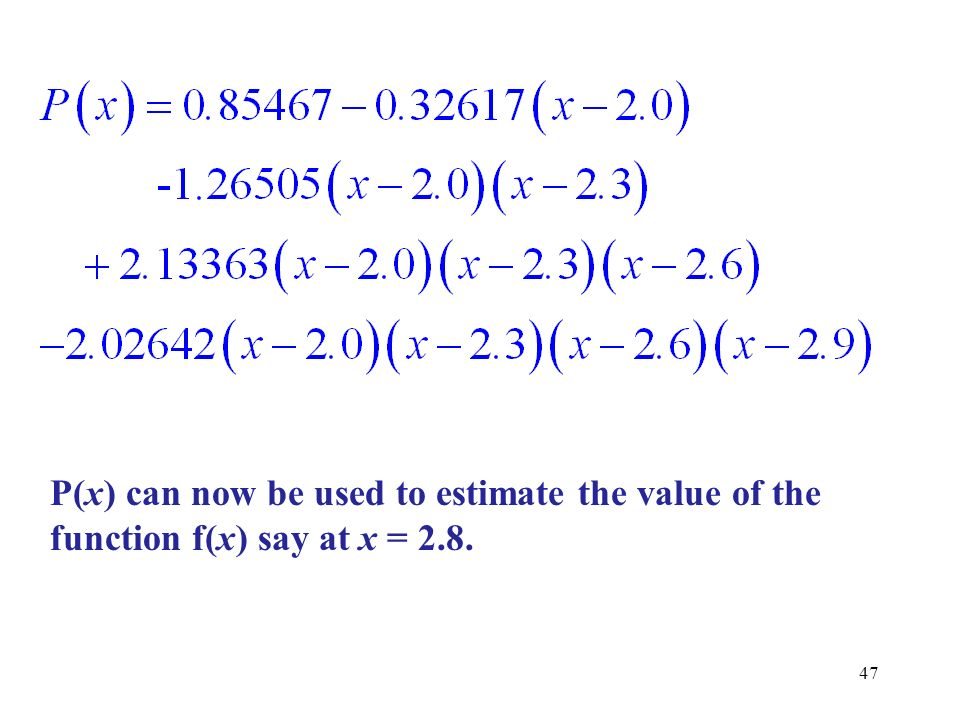 P(x) can now be used to estimate the value of the function f(x) say at x = 2.8.