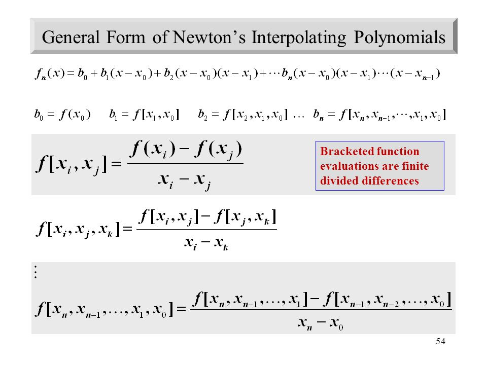 General Form of Newton's Interpolating Polynomials