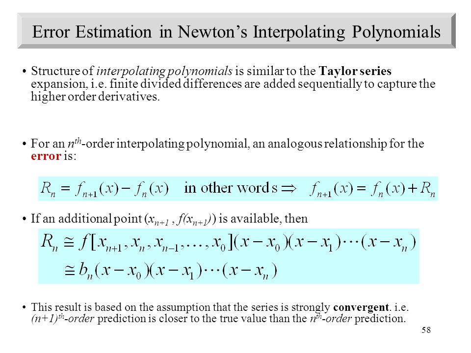 Error Estimation in Newton's Interpolating Polynomials