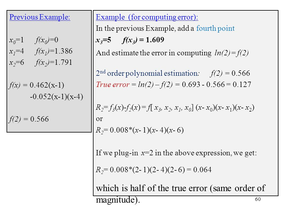 which is half of the true error (same order of magnitude).