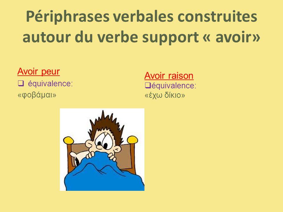 Périphrases verbales construites autour du verbe support « avoir»