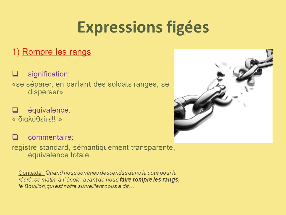 Expressions figées 1) Rompre les rangs signification: