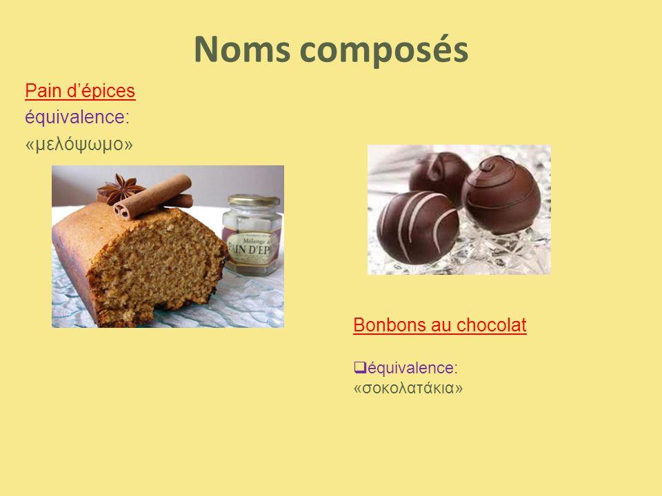 Noms composés Pain d'épices équivalence: «μελόψωμο»