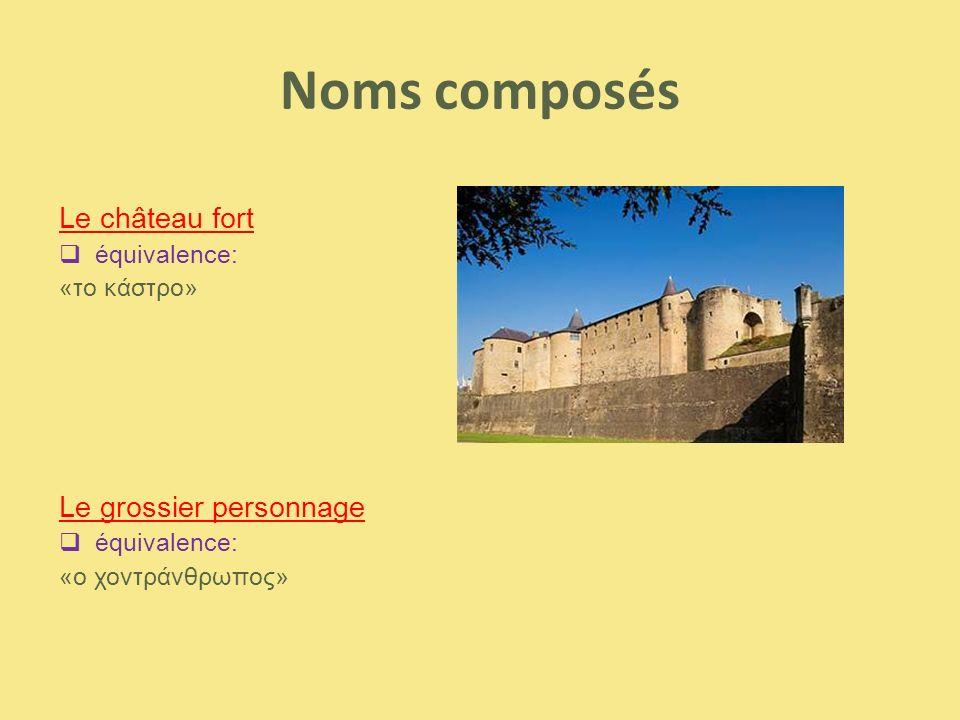 Noms composés Le château fort Le grossier personnage équivalence:
