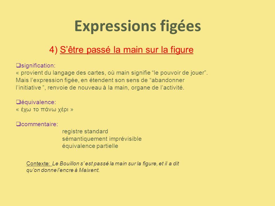 Expressions figées 4) S'être passé la main sur la figure