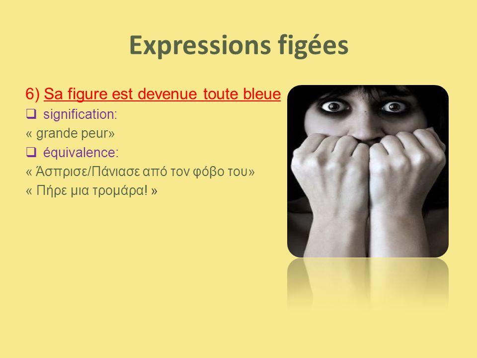 Expressions figées 6) Sa figure est devenue toute bleue signification: