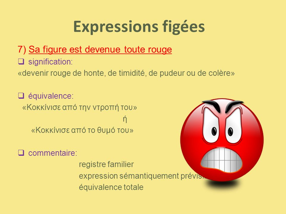 Expressions figées 7) Sa figure est devenue toute rouge signification: