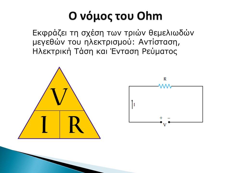 Ο νόμος του Ohm Εκφράζει τη σχέση των τριών θεμελιωδών μεγεθών του ηλεκτρισμού: Αντίσταση, Ηλεκτρική Τάση και Ένταση Ρεύματος.