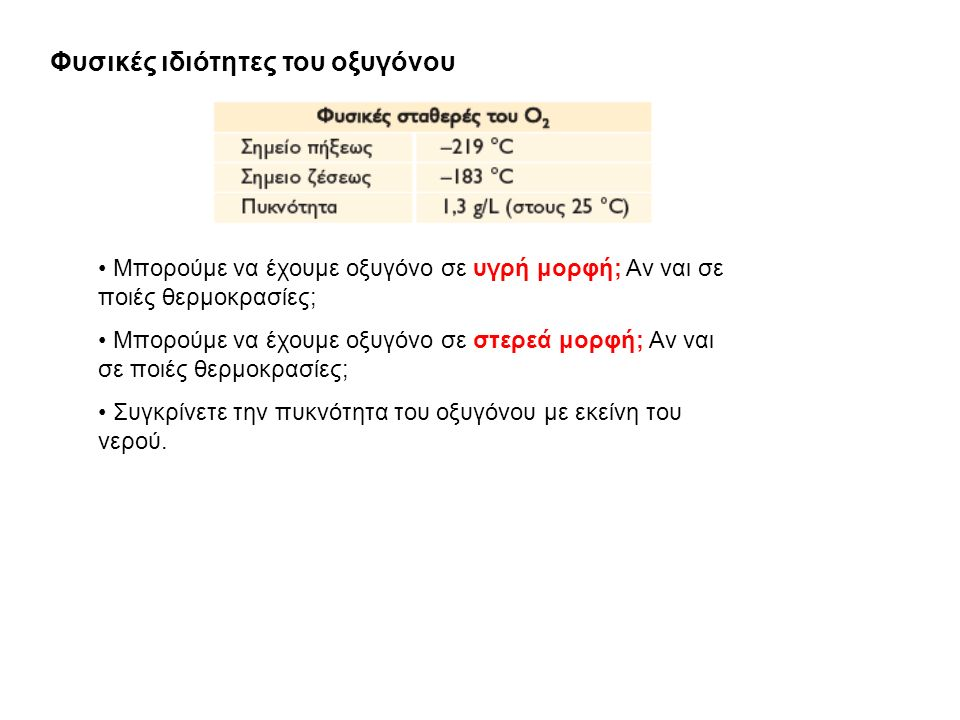 Φυσικές ιδιότητες του οξυγόνου