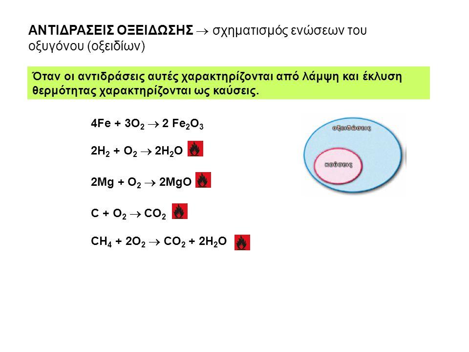 ΑΝΤΙΔΡΑΣΕΙΣ ΟΞΕΙΔΩΣΗΣ  σχηματισμός ενώσεων του οξυγόνου (οξειδίων)