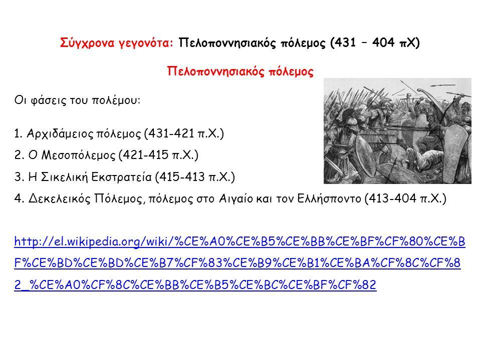Σύγχρονα γεγονότα: Πελοποννησιακός πόλεμος (431 – 404 πΧ)