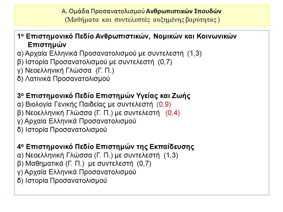 A. Ομάδα Προσανατολισμού Ανθρωπιστικών Σπουδών (Μαθήματα και συντελεστές αυξημένης βαρύτητας )