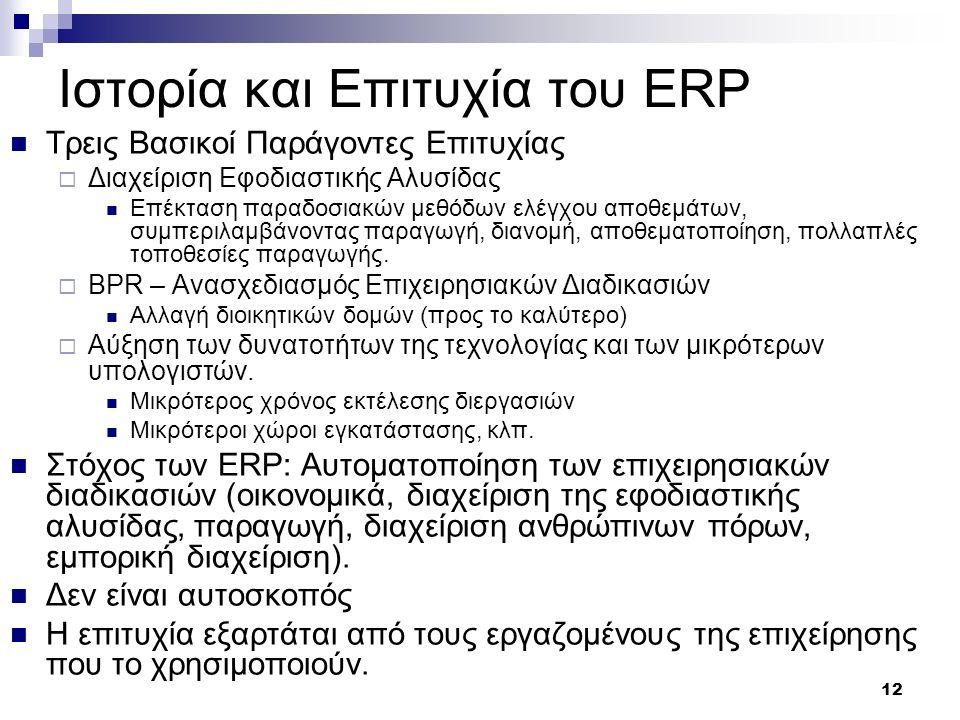 Ιστορία και Επιτυχία του ERP