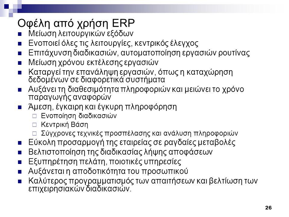 Οφέλη από χρήση ERP Μείωση λειτουργικών εξόδων