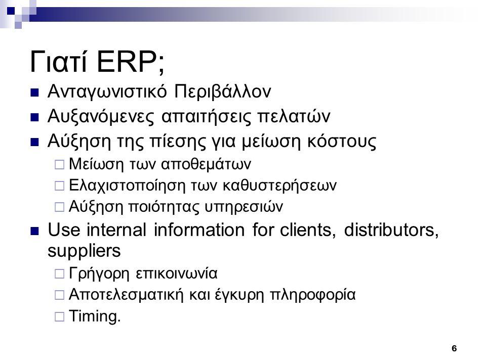 Γιατί ERP; Ανταγωνιστικό Περιβάλλον Αυξανόμενες απαιτήσεις πελατών