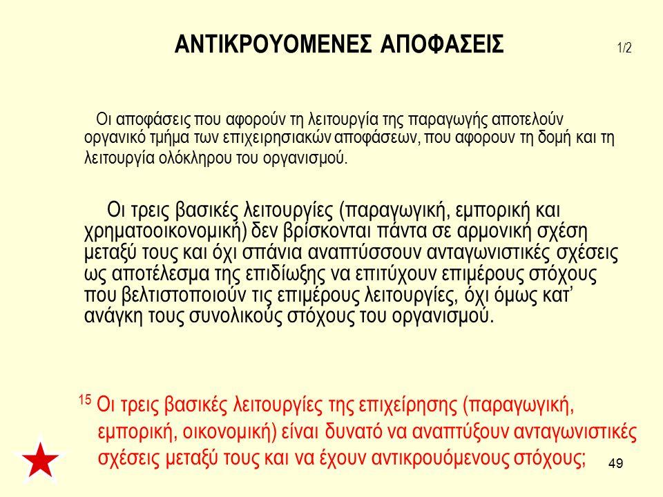 ΑΝΤΙΚΡΟΥΟΜΕΝΕΣ ΑΠΟΦΑΣΕΙΣ 1/2