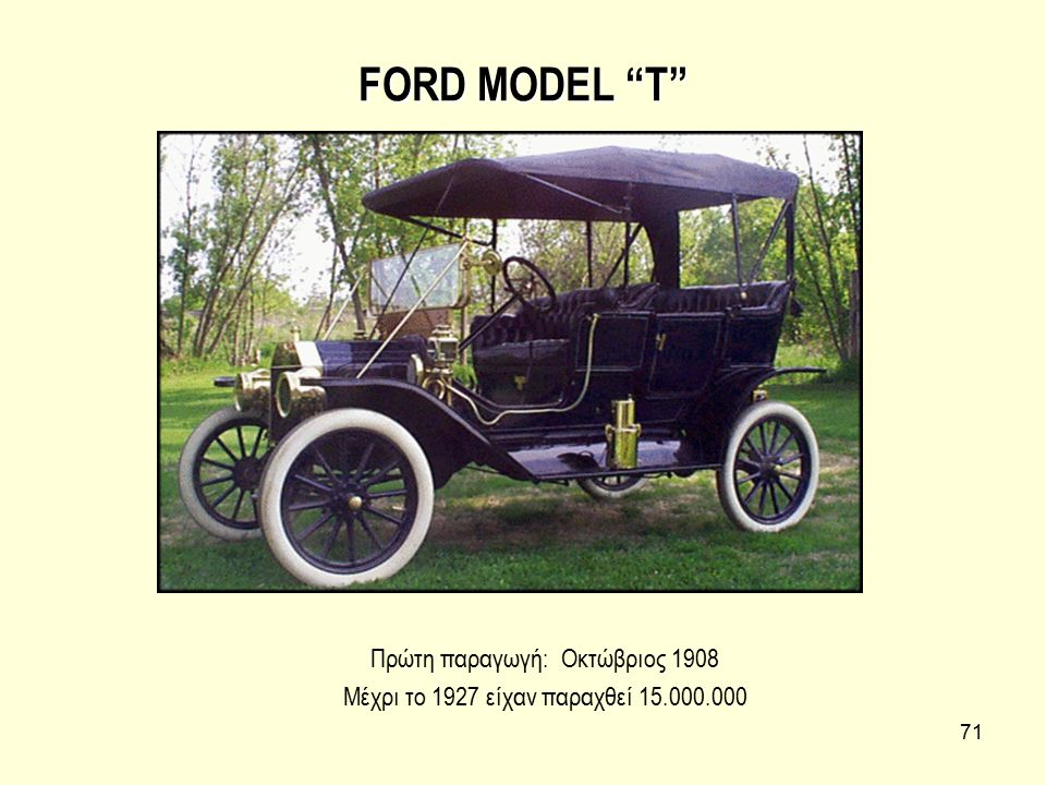 FORD MODEL T Πρώτη παραγωγή: Οκτώβριος 1908
