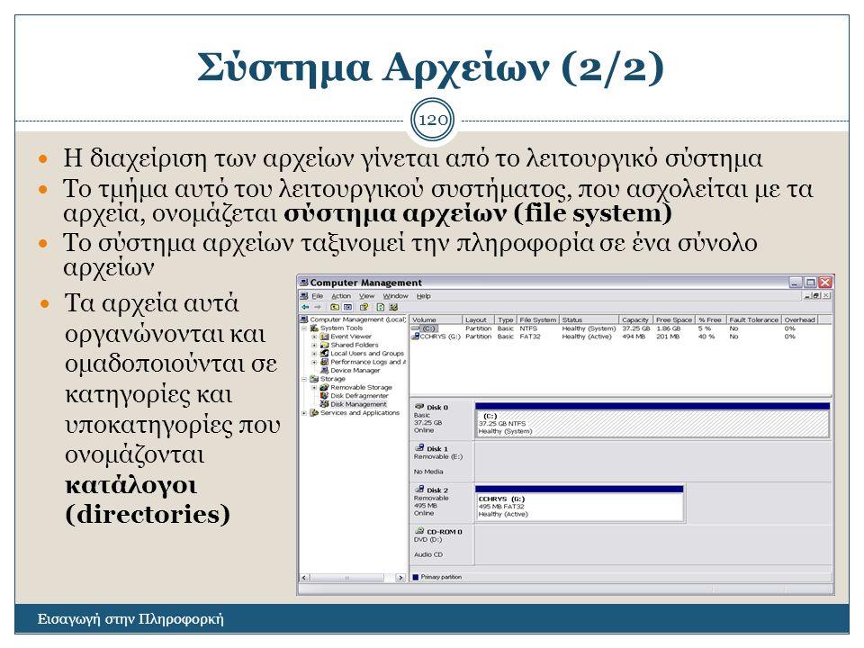 Σύστημα Αρχείων (2/2) Η διαχείριση των αρχείων γίνεται από το λειτουργικό σύστημα.