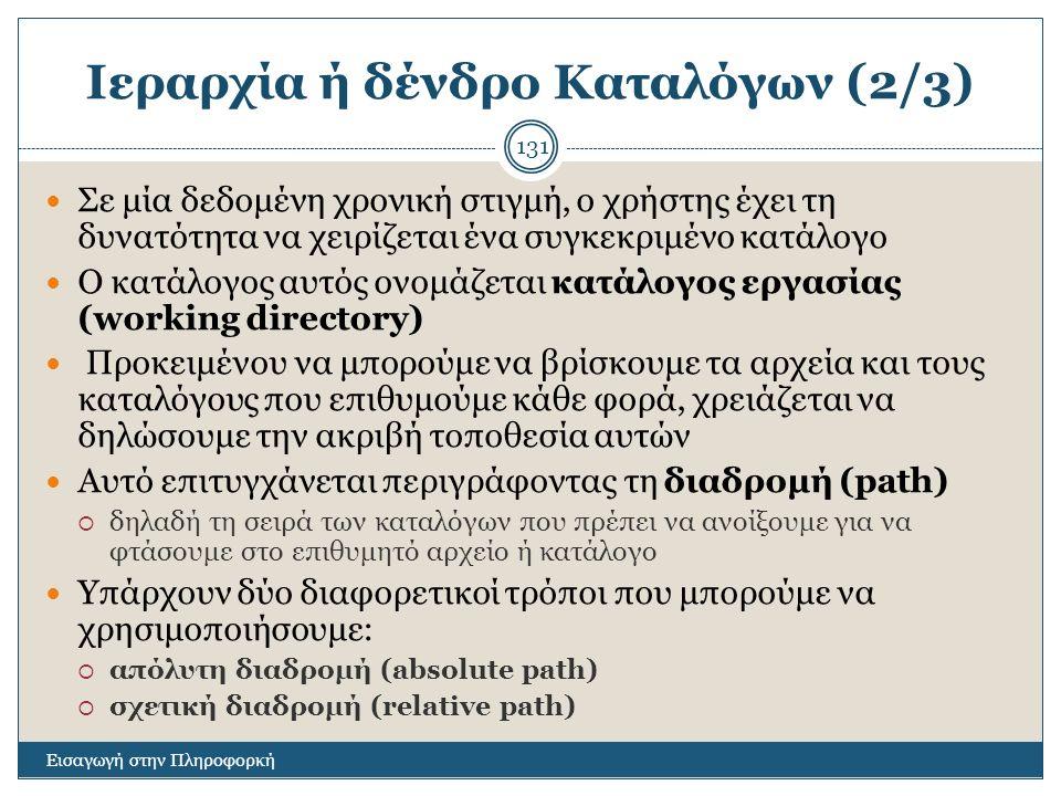 Ιεραρχία ή δένδρο Καταλόγων (2/3)