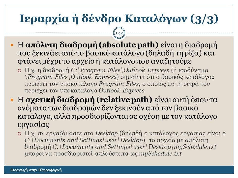 Ιεραρχία ή δένδρο Καταλόγων (3/3)