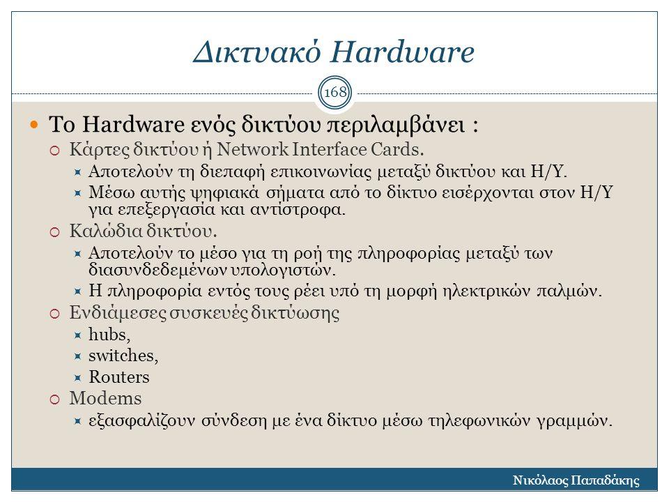 Δικτυακό Hardware Το Hardware ενός δικτύου περιλαμβάνει :