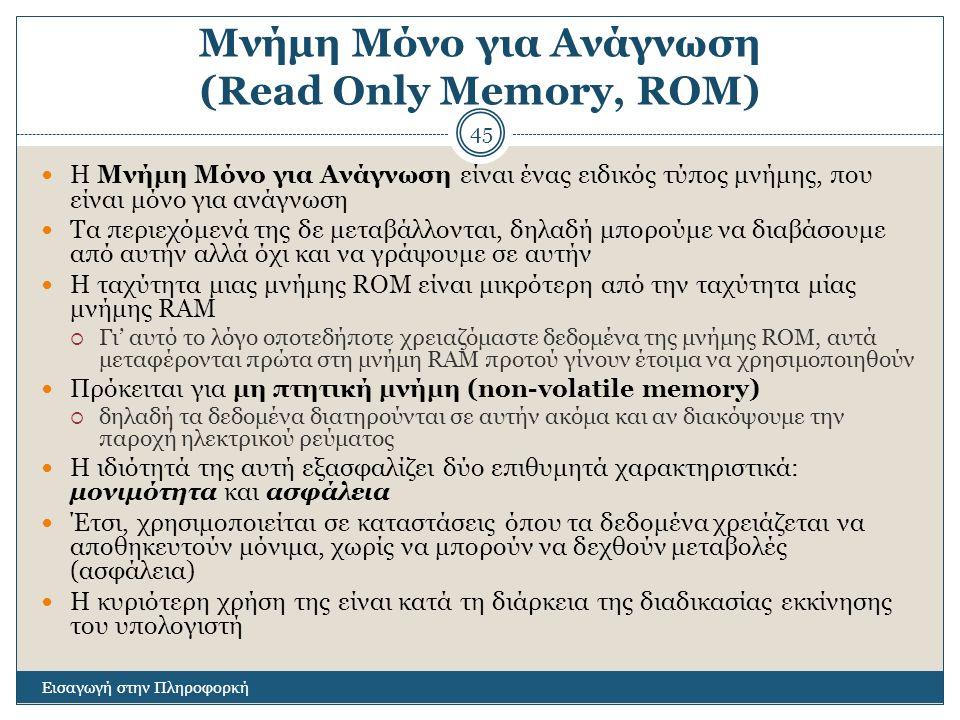 Μνήμη Μόνο για Ανάγνωση (Read Only Memory, ROM)