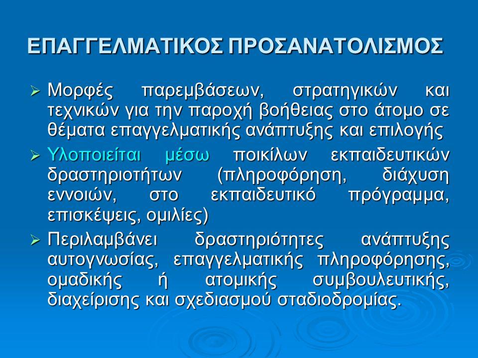 ΕΠΑΓΓΕΛΜΑΤΙΚΟΣ ΠΡΟΣΑΝΑΤΟΛΙΣΜΟΣ