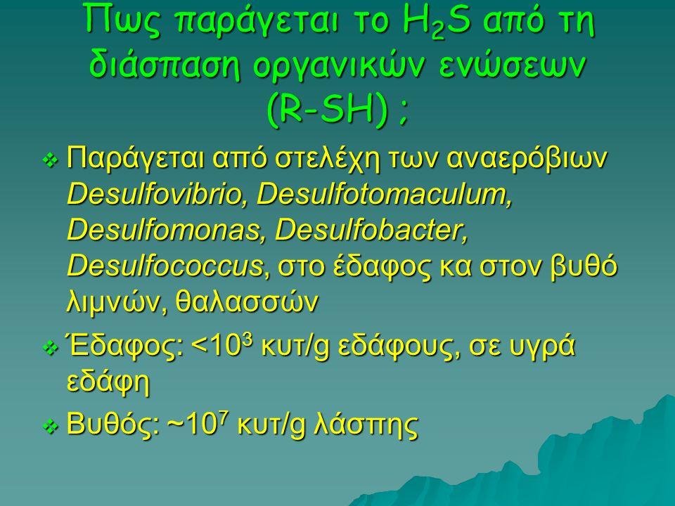 Πως παράγεται το H2S από τη διάσπαση οργανικών ενώσεων (R-SH) ;