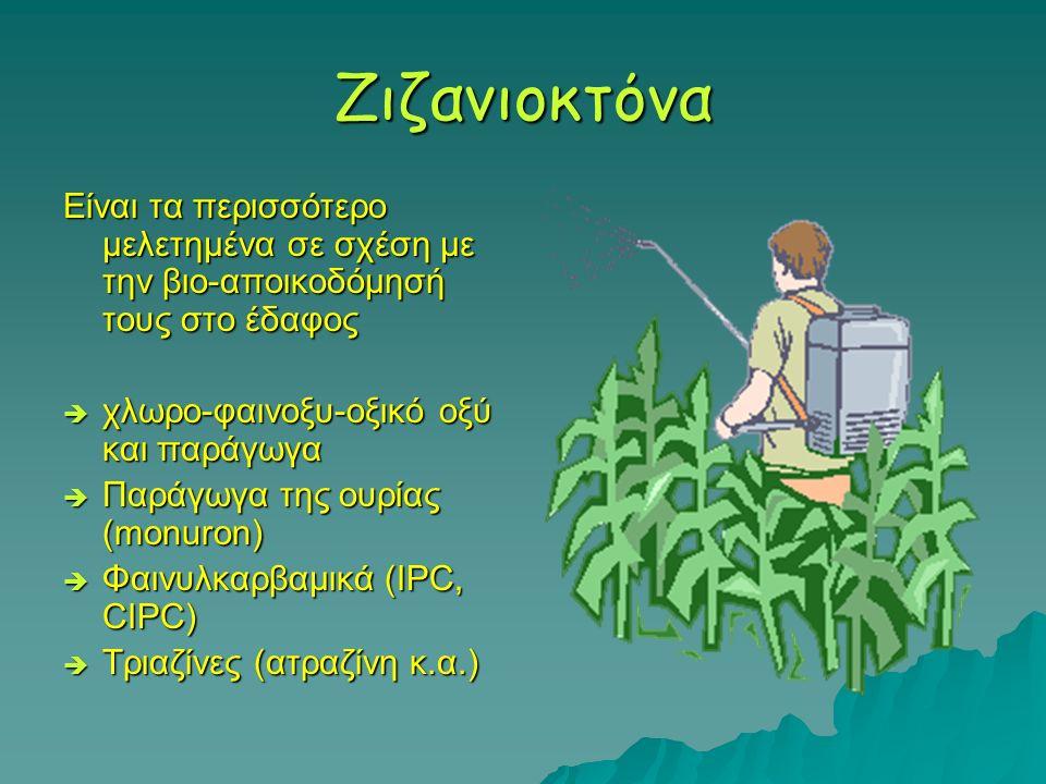 Ζιζανιοκτόνα Είναι τα περισσότερο μελετημένα σε σχέση με την βιο-αποικοδόμησή τους στο έδαφος. χλωρο-φαινοξυ-οξικό οξύ και παράγωγα.
